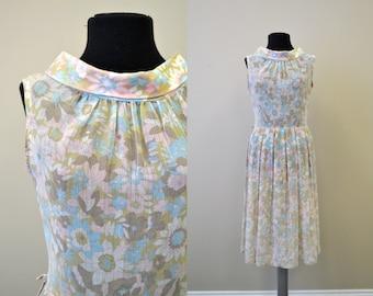 1960s Voile Sheer Pastel Floral Dress