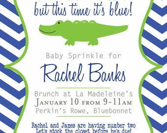 Alligator Navy and Green Baby Shower Sprinkle Printable Invitation