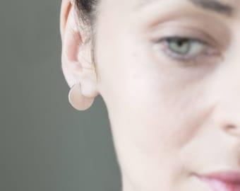 Geometric hoop earrings, Disc earrings, Minimalist Earrings, Circle earrings, hipster style earrings.