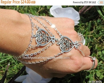 Sale Double Heart Ring, Bracelet ring, Slave Bracelet Ring, Finger Bracelet, Silver Slave Bracelet, Silver Hand Chain, Silver Heart Jewelry
