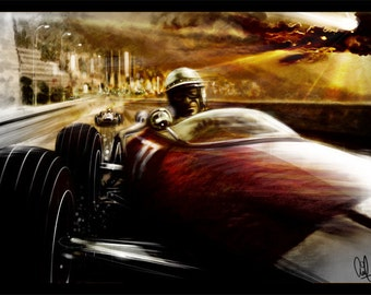 Automotive Art Monaco Grand Prix 16x24 Metallic Print