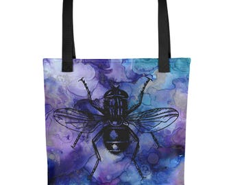 Watercolor Fly graphic Tote bag