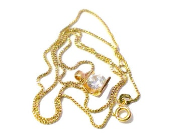 Modern Sterling Silver with Gold Wash 925 CZ Pendant Necklace