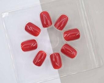 Square Red Glossy False Fake Nails Falsies / 24 Nails