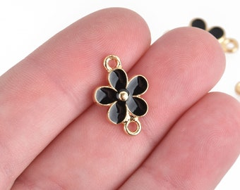 5 BLACK FLOWER Charms Connector link Small gold plated enamel 19x13mm chs4520