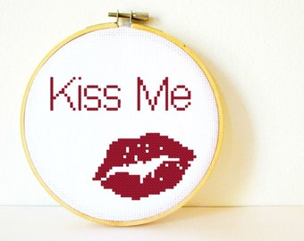 Counted Cross stitch Pattern PDF. Instant download. Kiss Me Lips. Includes beginners instructions.