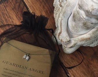 Guardian Angel Wings Pendant Necklace - Inspirational Keepsake Gift For Her with FREE UK DELIVERY