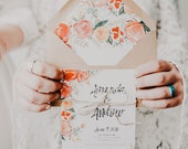 Hand Lettered Watercolor Floral Vintage Wedding Invitation