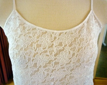 Vintage Stretchy White Lace Camisole - Size Small