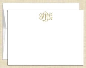 Monogram  Stationery - Monogram Note Cards - set of 10 - flat note cards - FEMININE MONOGRAM