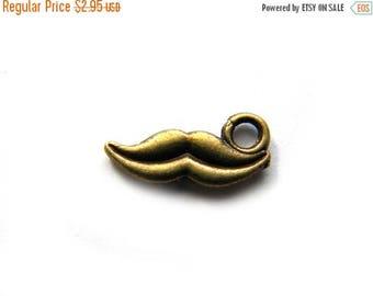 HALF PRICE 10 Bronze Moustache Charms - Mustache Charm
