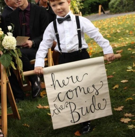 Wedding day decor, Hand lettered 'Here comes the Bride' banner, custom calligraphy on linen, ring bearer banner, monogrammed wedding sign