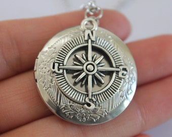 Silver Compass locket Necklace, Compass Charm,Graduation Gift, Travel Gift, Compass Jewelry,Good Luck