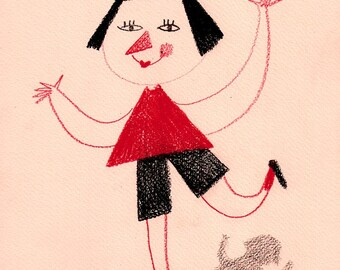 Standing on One Leg / ORIGINAL ILLUSTRATION / Children illustration / Red dreww / Funny characters / Red nose / Waving around