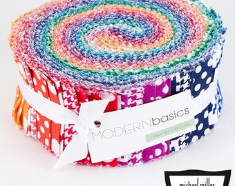"""JELLY ROLL - Crayon Box Modern Basics Jelly Roll from Michael Miller - 45 pieces 2.5""""x44"""""""