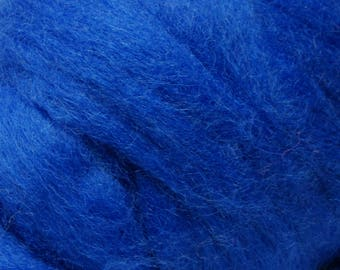 Blue Romney Wool Roving for Needle Felting One Ounce