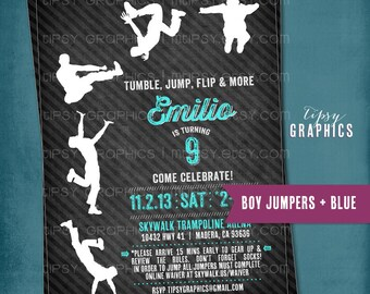 JUMP Tumble Flip. Chalkboard Trampoline Birthday Party Invite for Big Kids by Tipsy Graphics. Jumping Bouncing Parkour