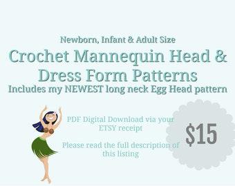 CROCHET PATTERN Mannequin head, Crochet Pattern Baby Dress Form, Mannequin Head Pattern, Female Dress Form Pattern