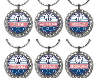 Wedding Party Favors, Nautical Party Favors, Wine Glass Tags, Wine Wedding Favors, Nautical Wine Glass Charms Wedding Shower Favors Set of 6