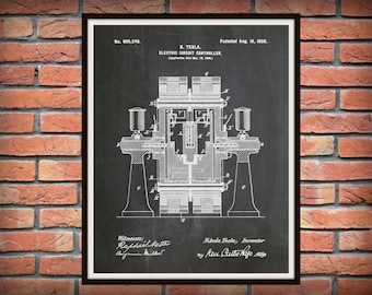 Patent 1898 Tesla Electric Circuit Controller - Art Print - Poster - Science Lab - Electrical Engineer Wall Art - Electricity Art