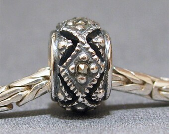 Sterling Silver Big Hole Bead No. 4 Spacer European Charm  Bracelet Bead