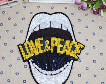 Large lip mouth sequins patch vintage embroidered applique