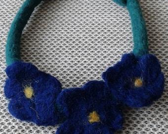 Woolen necklace Felting Art necklace Necklace made of wool Felt