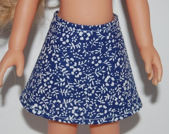 "Blue/White floral A-Line Skirt Doll Clothes Corolle 13"" Les Cheries 14"" Hearts for Hearts Betsy McCall  tkct931"