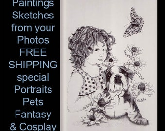 Gift Certificate for CUSTOM ART INK Drawing from Your Photo or Photos Combined Realism Black & White