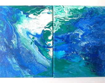 Shades of blue and white abstract diptych painting, acrylic pouring acrylic medium on canvas