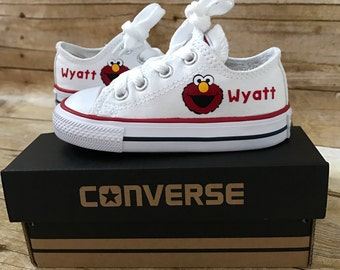 Elmo inspired Shoes - personalized chuck taylors - customized converse - Birthday swag low top converse - Birthday outfit
