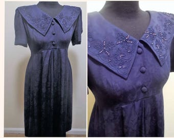 Vintage Dress Size 10 Petite Karin Stevens Navy Blue Short Sleeve Casual Style Women's Clothing Embroidered Big Collar