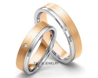 Two Tone 6mm Wedding Bands, 10k 14k 18K Gold  Two Tone Ring, Ring for Men, Ring for Women, Matching Rings, His & Hers Wedding Ring