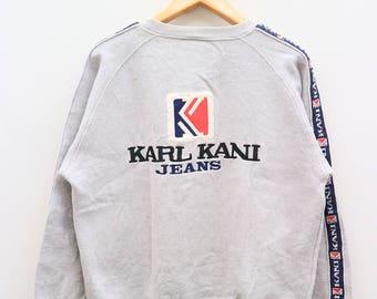 Vintage KARL KANI Jeans Gray Sweatshirt Sweater Size L