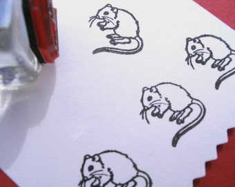 Little Mouse Gerbil Rat Rubber Stamp - Handmade by BlossomStamps