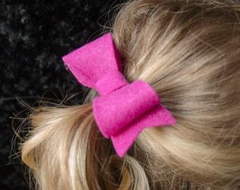 Hair Bow - Classic Magenta Felt Hair Bow with Tails