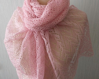 Linen Scarf Lace Shawl Knitted Natural Summer Wrap in Pale Pink Women Accessory