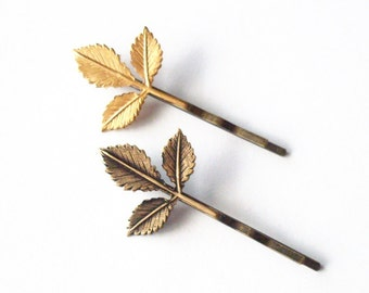 Leaf Bobby Pin Bridal Hair Clip Bride Bridesmaid Grecian Gold Fall Rustic Woodland Wedding Accessories Womens Gift For Her Vintage Style