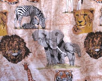 Vintage Safari Animal Blanket Wild Giraffe Lion Tiger Zebra Elephant Made In USA Full Size