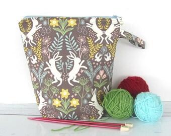 Bunny socks knitting bag, zipper project bag, kids toy bag, kids gift bag zipper pouch