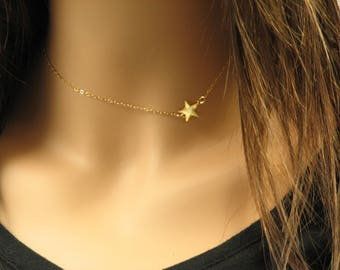 Star Charm Necklace, Sideways Star Necklace, Star on Side of Necklace, Sterling Silver or 14k Gold Fill, Understated Jewelry