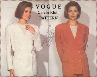 Calvin Klein Sewing Pattern - 1990s Vintage Vogue 2919 Sewing Pattern - Vogue American Designer - Misses Jacket - Size 14 16 18 - UNCUT