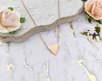 Rose Gold Triangle Dainty Necklace