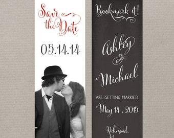 Save the Date Bookmark Chalkboard Save the Date Vintage Wedding Rustic Wedding