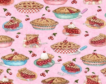 Quilting Treasures Home Sweet Home Pink Cherry Pies fabric - 1 yard