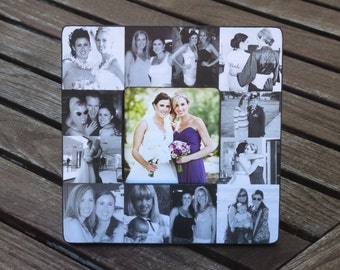 """Bridesmaid Collage Picture Frame, Personalized Sister Gift, Custom Maid of Honor Frame, Best Friend Collage Picture Frame, 8"""" x 8"""" Frame"""
