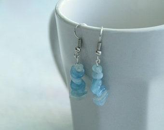 Earrings for pierced ears with gemstones or semi precious stones here aquamarine