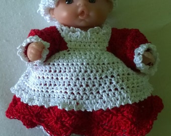 "Mrs. Santa Claus Doll Outfit for 5"" Berengeur Dolls"