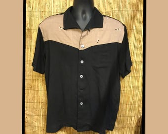 50s reproduction Hollywood Rogue Atomic two tone shirt.. Currently available in medium and X large