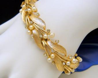 Crown Trifari Vintage Bracelet Faux Pearl Foliate Tiny Rhinestone Accents Gold Tone